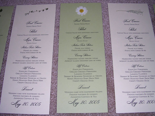 closeup menus